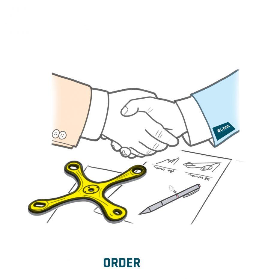 Commande d'un client pour la production d'une pièce moulée, d'une pièce forgée ou d'un palier lisse